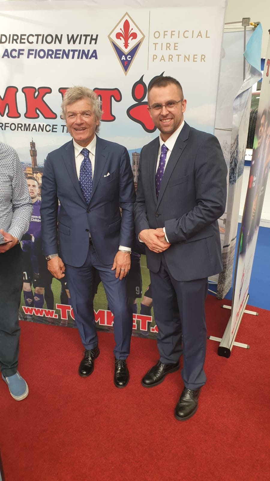 Giancarlo Antognoni, football legend with Radek Grill, owner of TOMKET TIRES brand